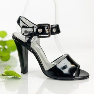 Linea Paolo Sandal Heel Ankle Strap Black Patent